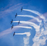 Planes on the sky of Sydney. A formation of historic planes are flying over the sky of Sydney, Australia. The formation includes six planes and was done during Royalty Free Stock Photography