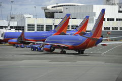 Planes of the Southwest Airline. Being prepared for departure Stock Photography