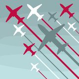 Planes take off up on a gray background stock illustration