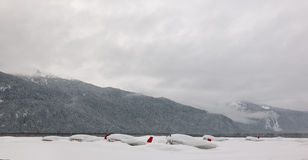 Planes under snow. Royalty Free Stock Photo