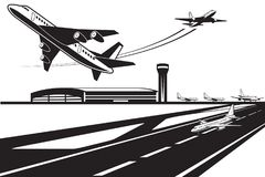 Planes waiting for their turn to take off. Vector illustration Royalty Free Stock Photo