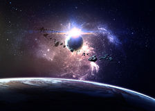 Planet över nebulaena i utrymme Royaltyfria Foton