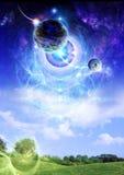 Planet über Erde stock abbildung