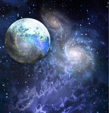 Planet. In galaxy filled space Royalty Free Stock Images