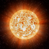 Planet. Radiant planet in the star sky Royalty Free Stock Photography