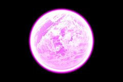 Planet. A pink  fantasy planet on a dark background Stock Photo
