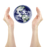 Planet. Woman hands around planet earth isolated on white background Stock Photo
