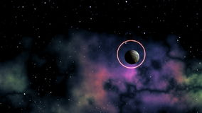 Planet abduction. In space against a nebula and stars the planet flies. The star (UFO) flies up to it, brightly sparks and will form a circle in which the planet stock video