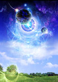Planet above earth stock illustration