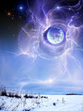 Planet above earth, the winter Stock Images