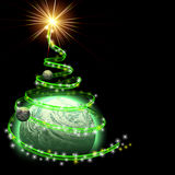 Planet with abstract christmas tree spiral. Isolated on black stock illustration