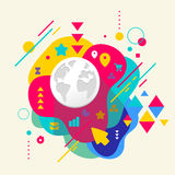 Planet on abstract colorful spotted background with different el libre illustration