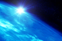 Planet against the sun Royalty Free Stock Images