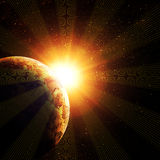 Planet against the sun Royalty Free Stock Photo