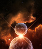 Planet Alignment. With rising Sun and nebula on background Royalty Free Stock Photo