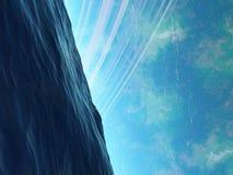 Planet Arkology Ozean mit lauerndem etwas Stockfoto