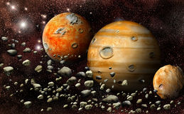 Planet in the asteroid belt Royalty Free Stock Image