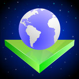 Planet auf Pfeil stock abbildung