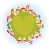 Planet av förälskelse stock illustrationer