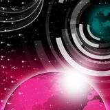 Planet Background Shows Sending And Receiving Data Royalty Free Stock Photos