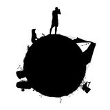 Planet of a backpacker. Little planet for a backpacker taking a picture on his camera, with his dog, bags, tent, chair laid on the grass; symbol of a traveller's Royalty Free Illustration