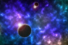 Planet in the beautiful blue space stock photography