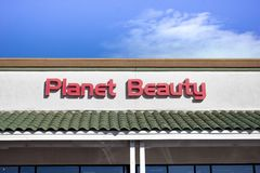 Planet Beauty store sign royalty free stock photos