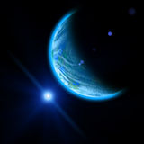Planet and blue bright star Royalty Free Stock Photos