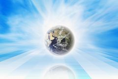 Planet in blue sky. Peaceful background - earth in blue sky. Elements of this image furnished by NASA Royalty Free Stock Photos