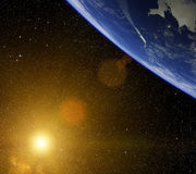 Planet with bright star. Stock Images