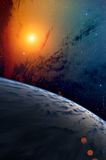 Planet with bright star. Royalty Free Stock Image