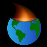 Planet burned. Fire coming from within the core of the planet earth Royalty Free Stock Photos
