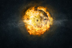 Planet burning in flames Stock Image