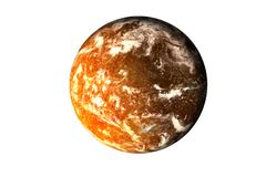 Planet with burning magmatic surface and gas atmospher isolated. Orange planet with burning magmatic surface and gas atmosphere in the shadow isolated. Science stock photography