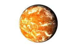 Planet with burning magmatic surface and gas atmosphere isolated. Orange planet with burning magmatic surface and gas atmosphere isolated. Science fiction royalty free stock photo