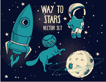 Planet, cat in spacesuit, little cute astronaut and rocket Royalty Free Stock Images