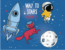 Planet, cat in spacesuit, little cute astronaut and rocket Stock Image