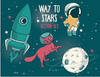 Planet, cat in spacesuit, little cute astronaut and rocket Stock Images