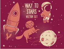 Planet, cat in spacesuit, little cute astronaut and rocket Royalty Free Stock Photography