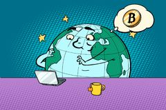 Planet character reads the news on bitcoin. Comic book cartoon pop art retro drawing illustration Royalty Free Stock Photo