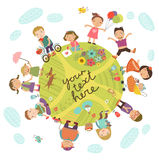 Planet of childre. N. Vector illustration with cute kids Royalty Free Stock Photo