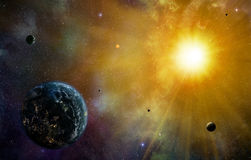 Planets and Sun Royalty Free Stock Photography