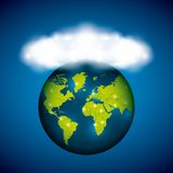 Planet and cloud icon. Global communication design. Vector graph. Global communication design represented by planet and cloud icon. Colorfull illustration Stock Image