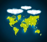 Planet and cloud icon. Global communication design. Vector graph. Global communication design represented by planet and cloud icon. Colorfull illustration Royalty Free Stock Photography