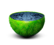 Planet code. Green planet with computer code inside stock images