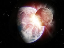 Planet collision. Theoretical reconstruction of a planetar collision royalty free illustration