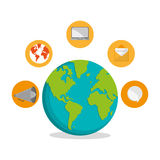 Planet and communication icon set design Stock Photos