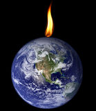 Planet consumed by flame Stock Photos