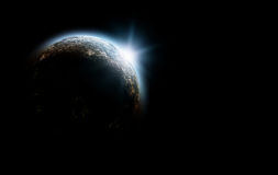 Planet in cosmos. 3d planet in cosmos with sunrise royalty free illustration