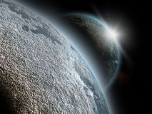 Planet in cosmos. With rising sun effect Stock Images
